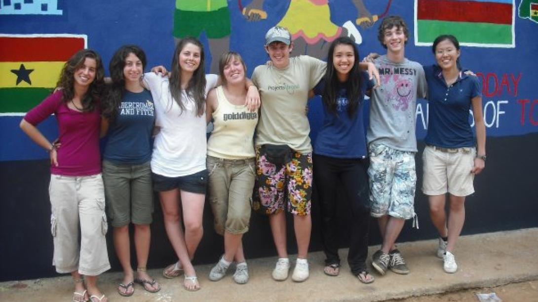 Volunteers spend time with one another as they explore Ghana.
